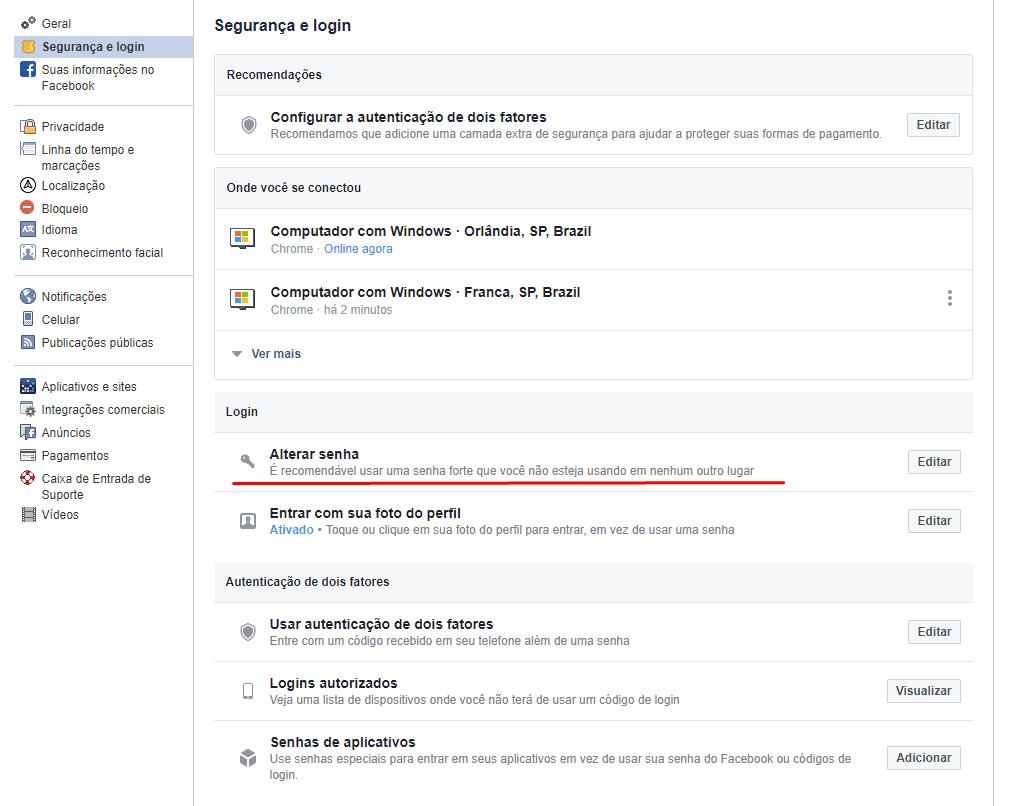 senha do facebook, senha, facebook, rede social, segurança, configuração, configurações, alterar senha, alterar senha do facebook, como alterar senha, Administrar Páginas no Facebook