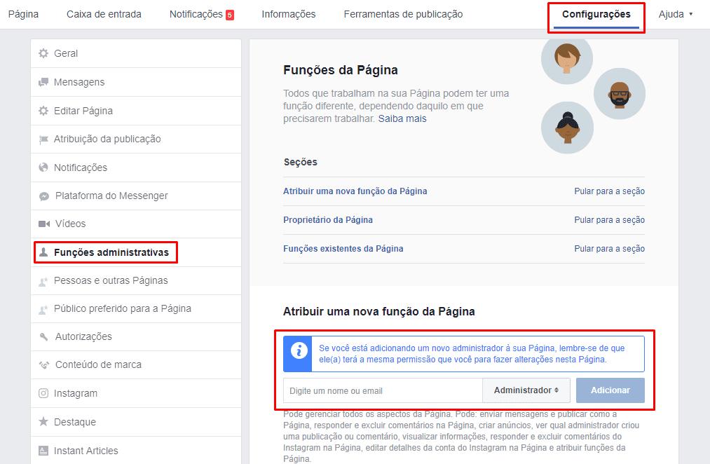Configuração facebook, função administrativa, funções administratrivas, rede social, facebook, administrador, Administrar Páginas no Facebook