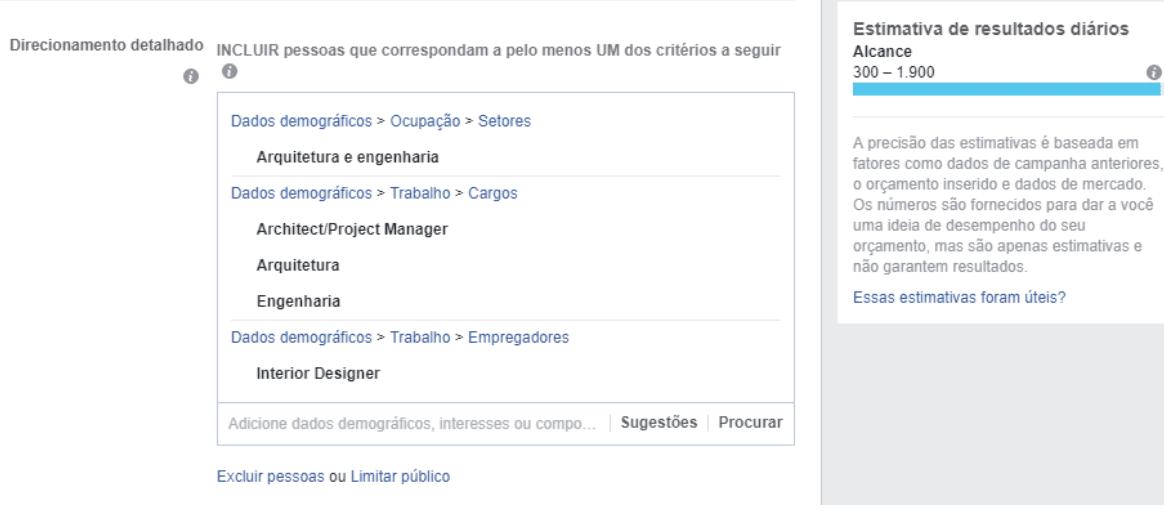 imagem com configuração de público em campanhas do facebook e quadro de estimativa de alcance