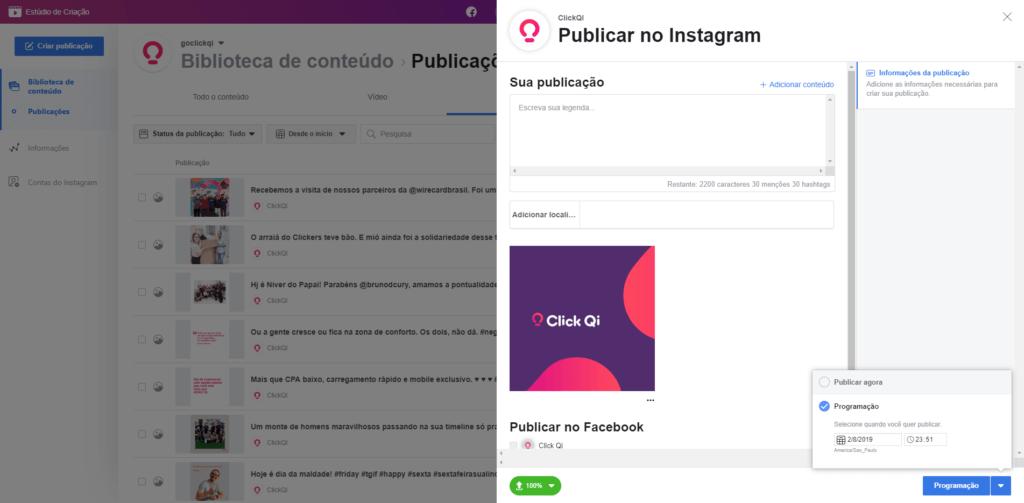 Estúdio de Criação mostrando como programar posts no instagram